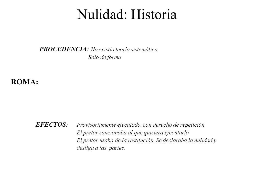 Nulidad: Historia PROCEDENCIA: No existía teoría sistemática. Solo de forma ROMA: EFECTOS: Provisoriamente ejecutado, con derecho de repetición El pre