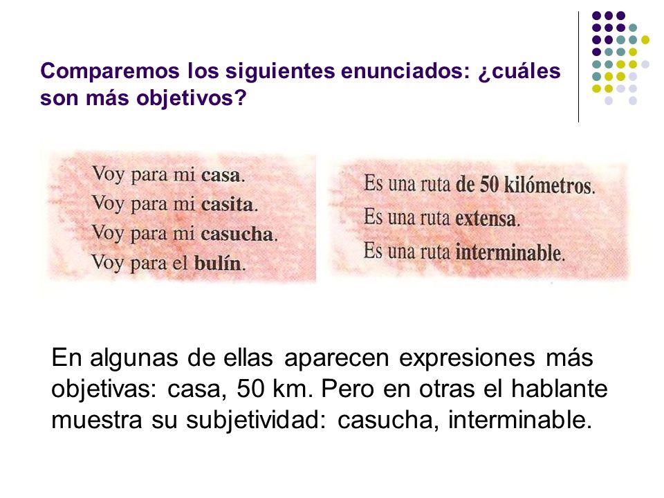 Comparemos los siguientes enunciados: ¿cuáles son más objetivos? En algunas de ellas aparecen expresiones más objetivas: casa, 50 km. Pero en otras el