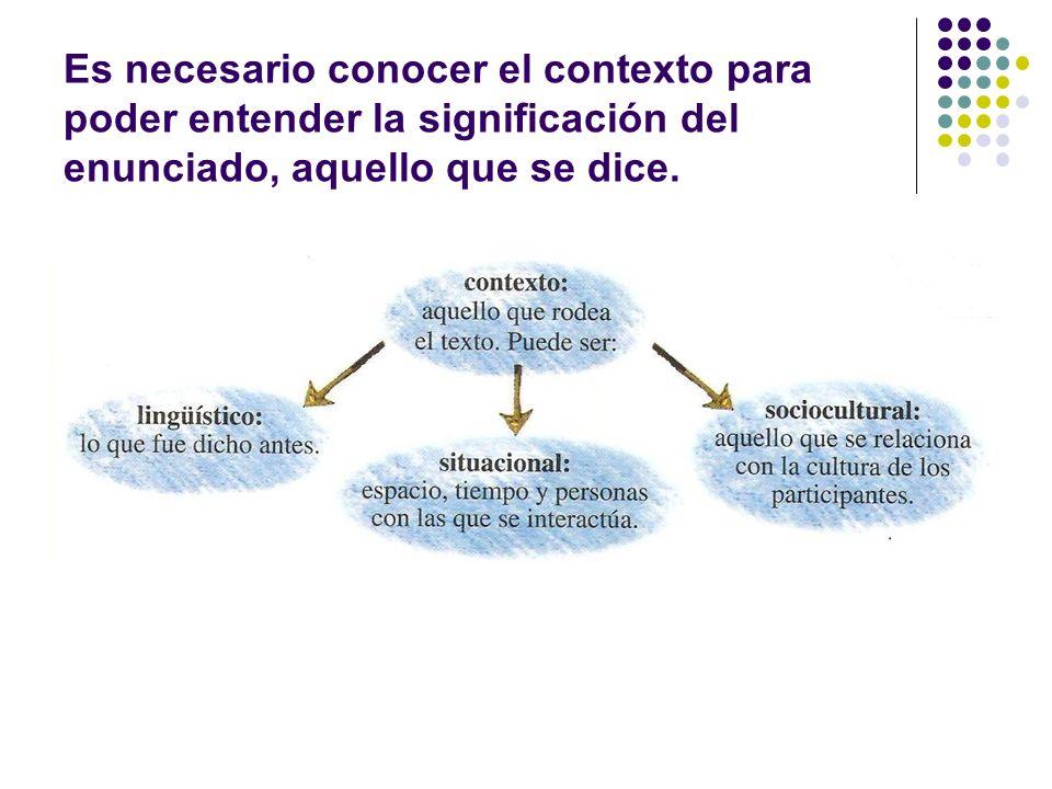 Contexto: aquello que rodea al texto, puede ser: Lingüístico: aquello que fue dicho antes.