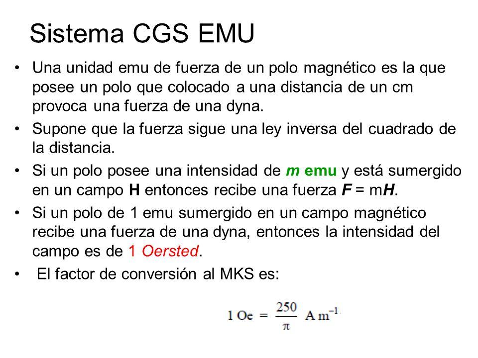 Una unidad emu de fuerza de un polo magnético es la que posee un polo que colocado a una distancia de un cm provoca una fuerza de una dyna. Supone que