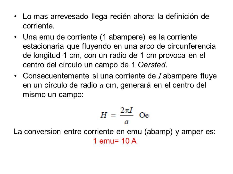 Lo mas arrevesado llega recién ahora: la definición de corriente. Una emu de corriente (1 abampere) es la corriente estacionaria que fluyendo en una a