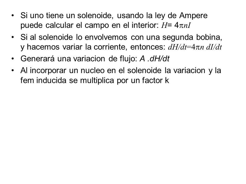 Si uno tiene un solenoide, usando la ley de Ampere puede calcular el campo en el interior: H = 4 nI Si al solenoide lo envolvemos con una segunda bobi