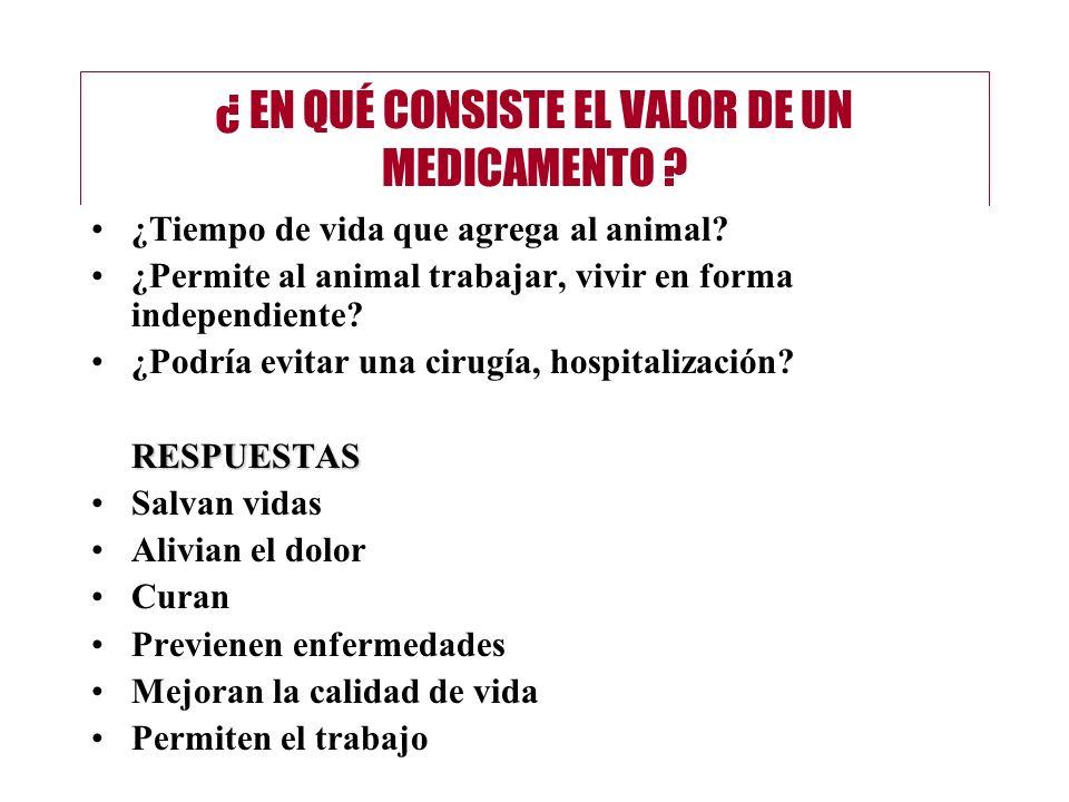 ¿ EN QUÉ CONSISTE EL VALOR DE UN MEDICAMENTO ? ¿Tiempo de vida que agrega al animal? ¿Permite al animal trabajar, vivir en forma independiente? ¿Podrí