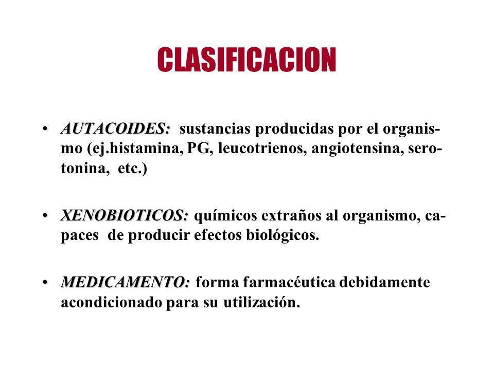 CLASIFICACION AUTACOIDES:AUTACOIDES: sustancias producidas por el organis- mo (ej.histamina, PG, leucotrienos, angiotensina, sero- tonina, etc.) XENOB