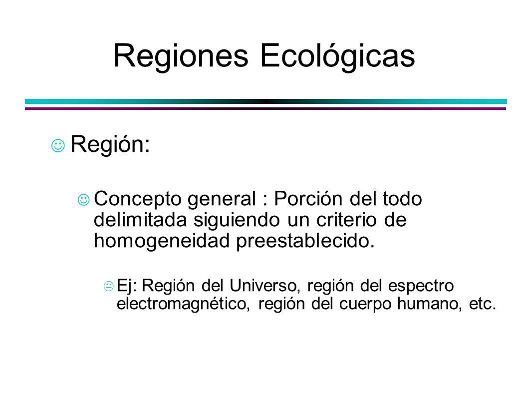 Regiones Ecológicas Región: Concepto general : Porción del todo delimitada siguiendo un criterio de homogeneidad preestablecido. Ej: Región del Univer