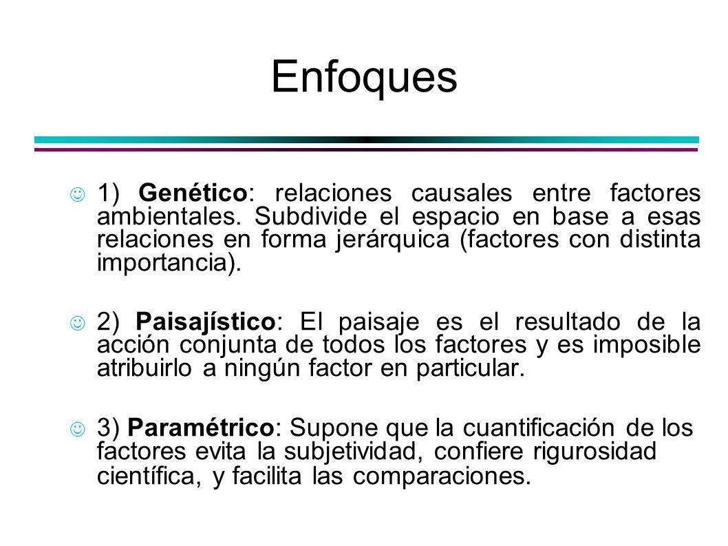 Enfoques 1) Genético: relaciones causales entre factores ambientales. Subdivide el espacio en base a esas relaciones en forma jerárquica (factores con
