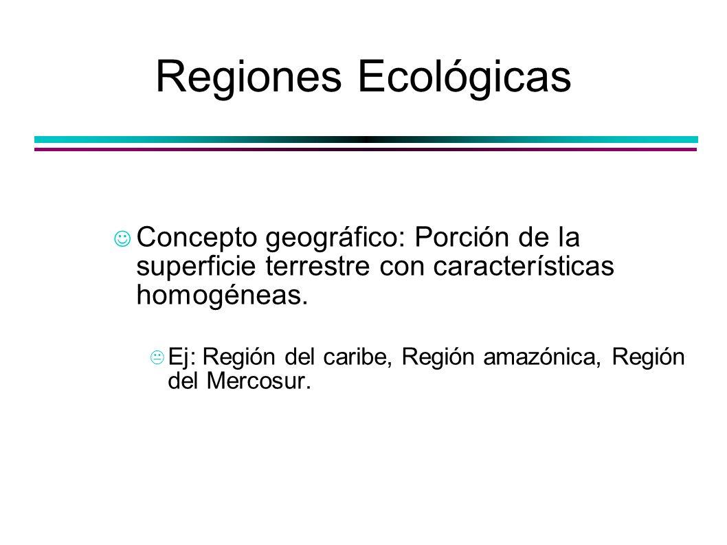 Regiones Ecológicas Concepto geográfico: Porción de la superficie terrestre con características homogéneas. Ej: Región del caribe, Región amazónica, R