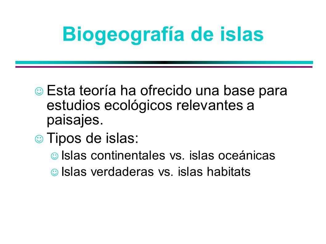 Biogeografía de islas Esta teoría ha ofrecido una base para estudios ecológicos relevantes a paisajes. Tipos de islas: Islas continentales vs. islas o