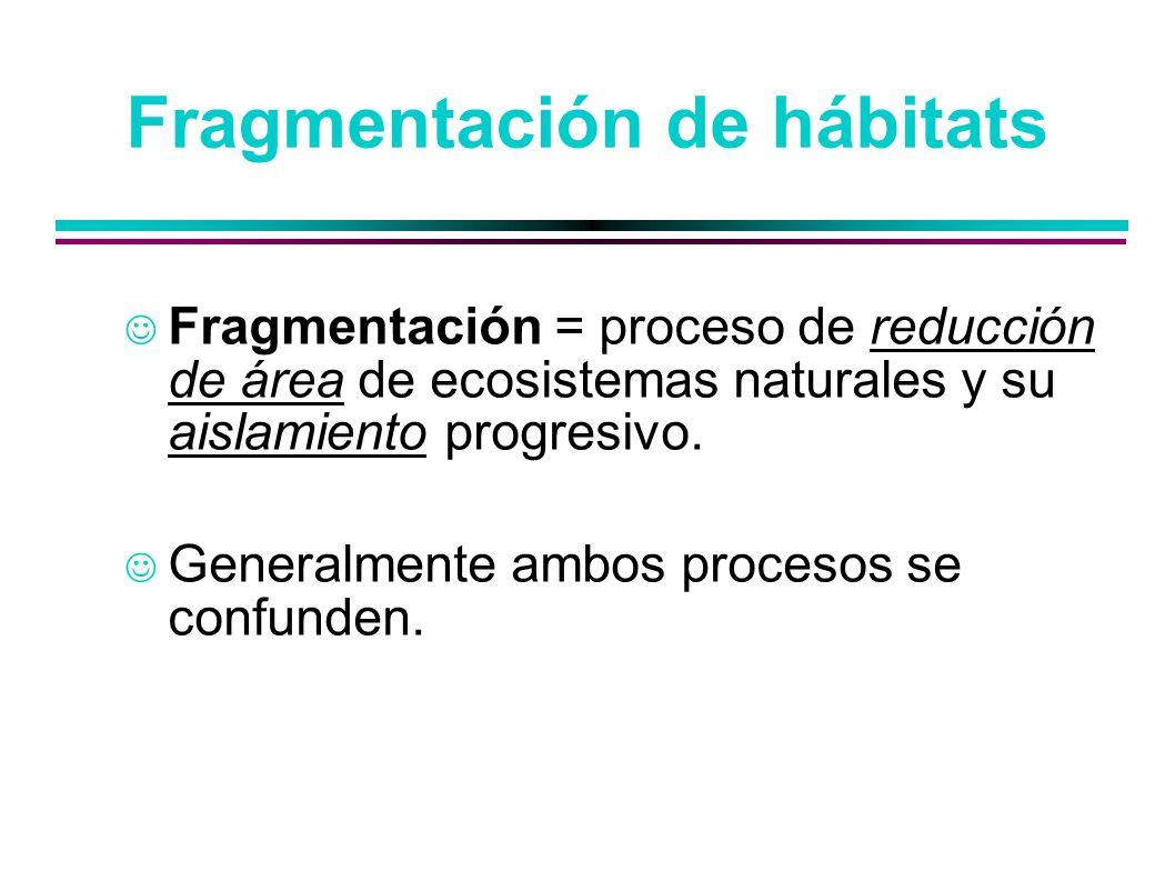 Fragmentación = proceso de reducción de área de ecosistemas naturales y su aislamiento progresivo. Generalmente ambos procesos se confunden.