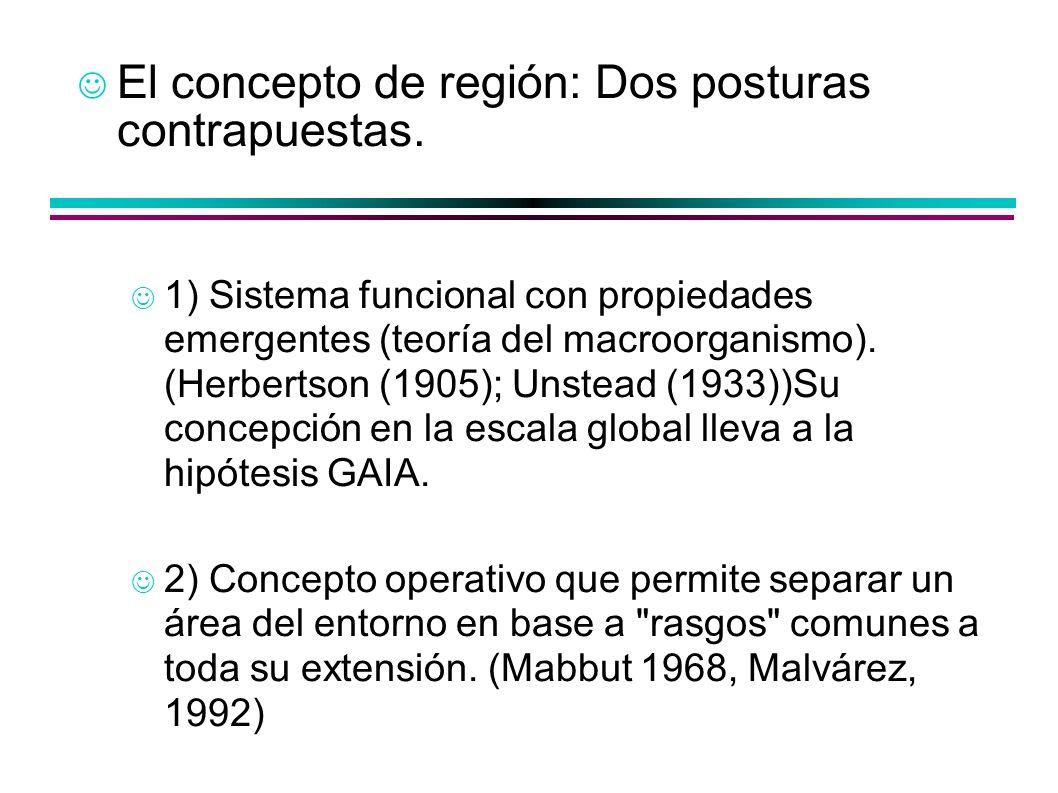 El concepto de región: Dos posturas contrapuestas. 1) Sistema funcional con propiedades emergentes (teoría del macroorganismo). (Herbertson (1905); Un