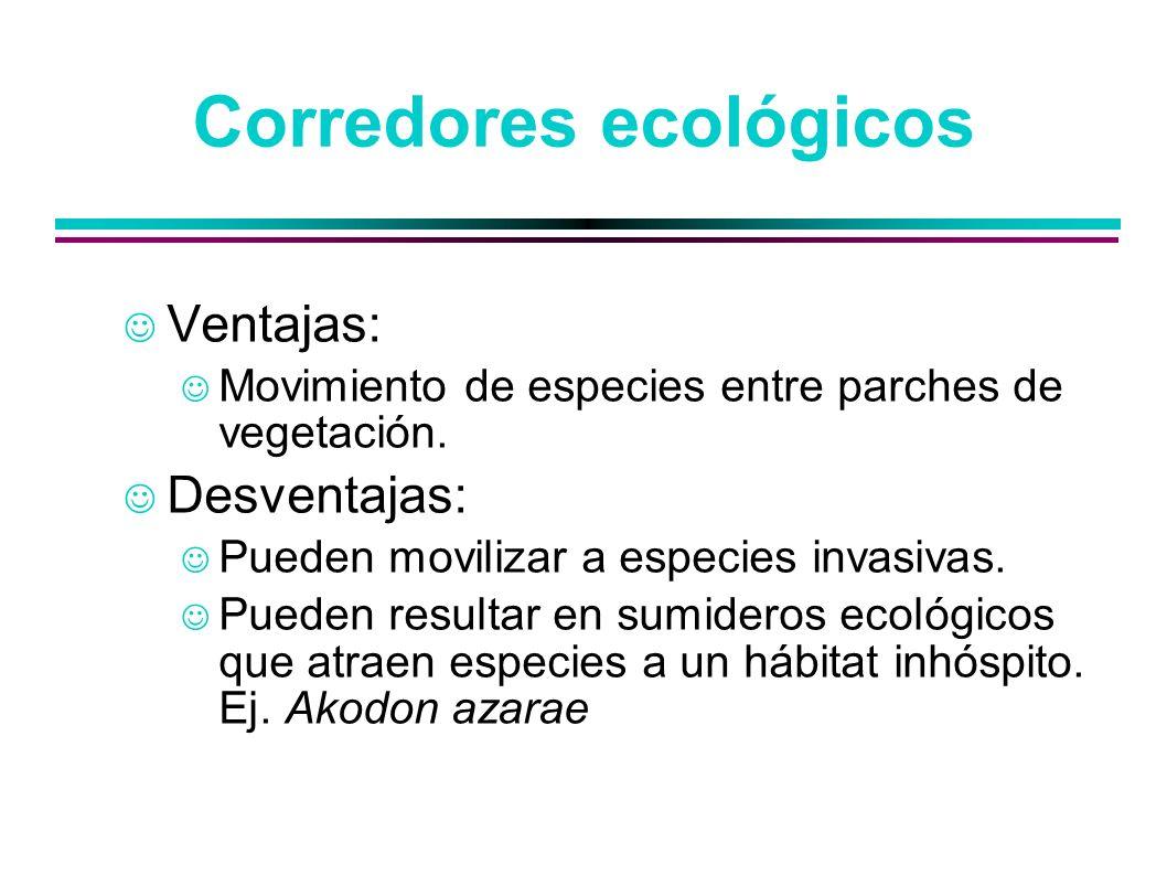 Corredores ecológicos Ventajas: Movimiento de especies entre parches de vegetación. Desventajas: Pueden movilizar a especies invasivas. Pueden resulta