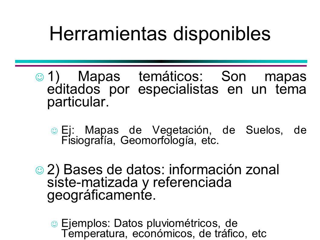 Herramientas disponibles 1) Mapas temáticos: Son mapas editados por especialistas en un tema particular. Ej: Mapas de Vegetación, de Suelos, de Fisiog