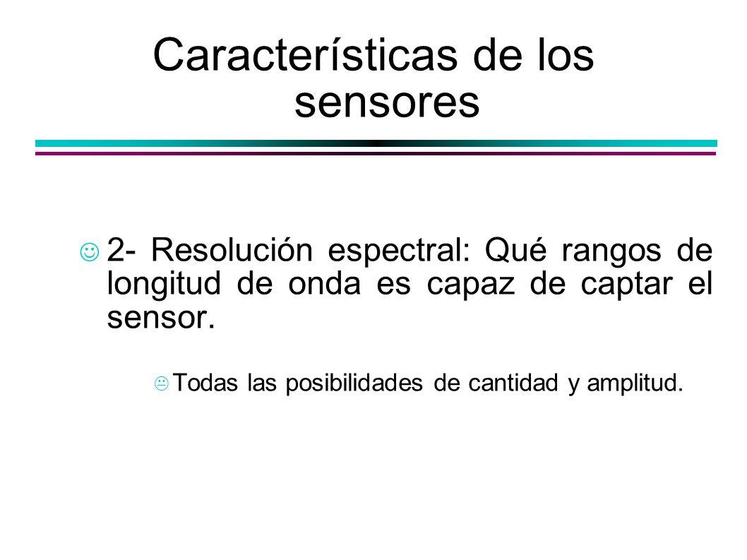 Características de los sensores 2- Resolución espectral: Qué rangos de longitud de onda es capaz de captar el sensor. Todas las posibilidades de canti