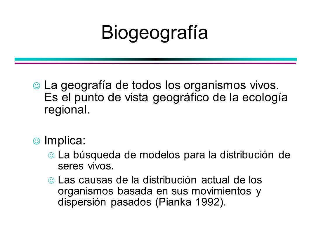 Biogeografía La geografía de todos los organismos vivos. Es el punto de vista geográfico de la ecología regional. Implica: La búsqueda de modelos para