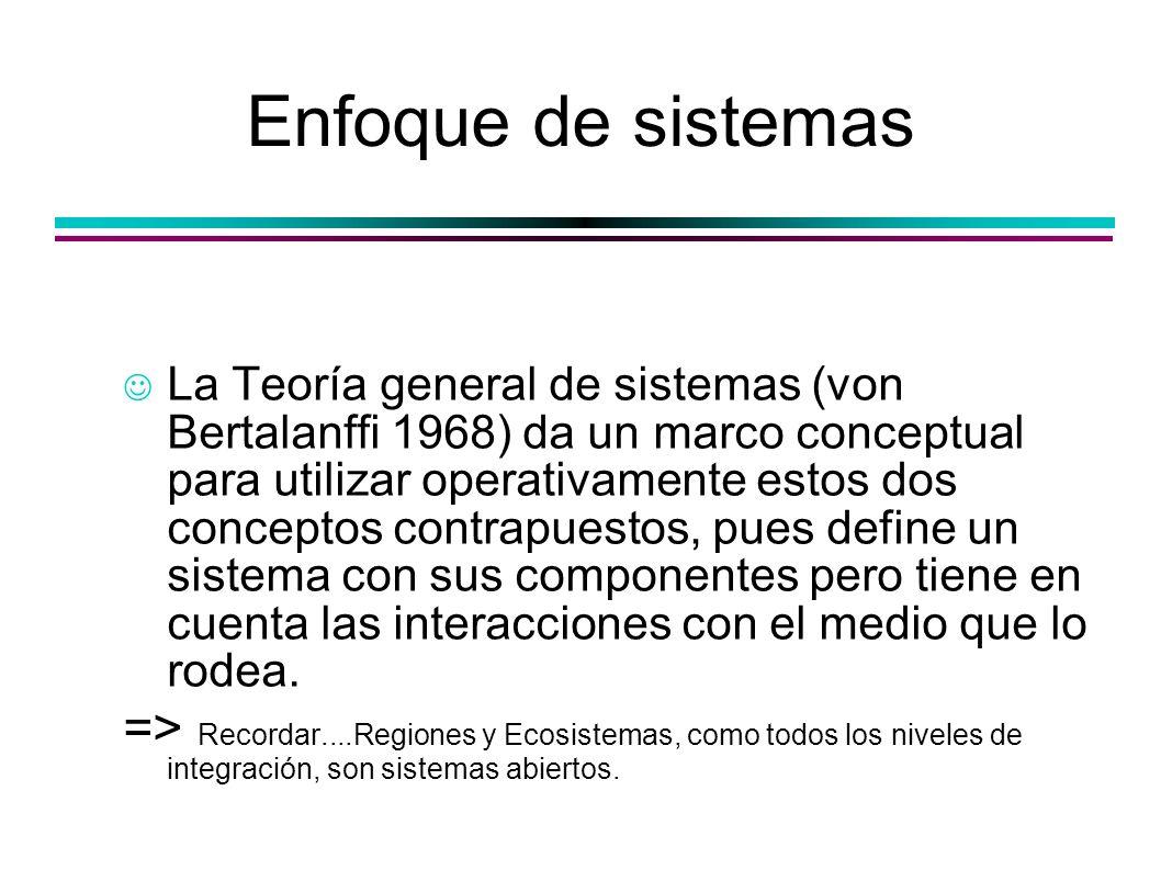 Enfoque de sistemas La Teoría general de sistemas (von Bertalanffi 1968) da un marco conceptual para utilizar operativamente estos dos conceptos contr