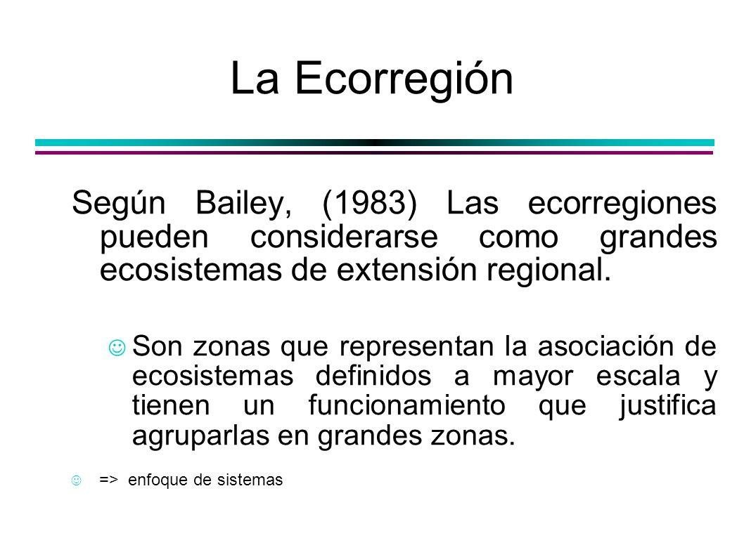 Regiones ecológicas = Ecorregiones Omernik (1987) hipotetizó que los ecosistemas muestran patrones regionales que son función del clima, el suelo, la vegetación y la fisiografía, y utilizó estas características para delimitar ecorregiones.