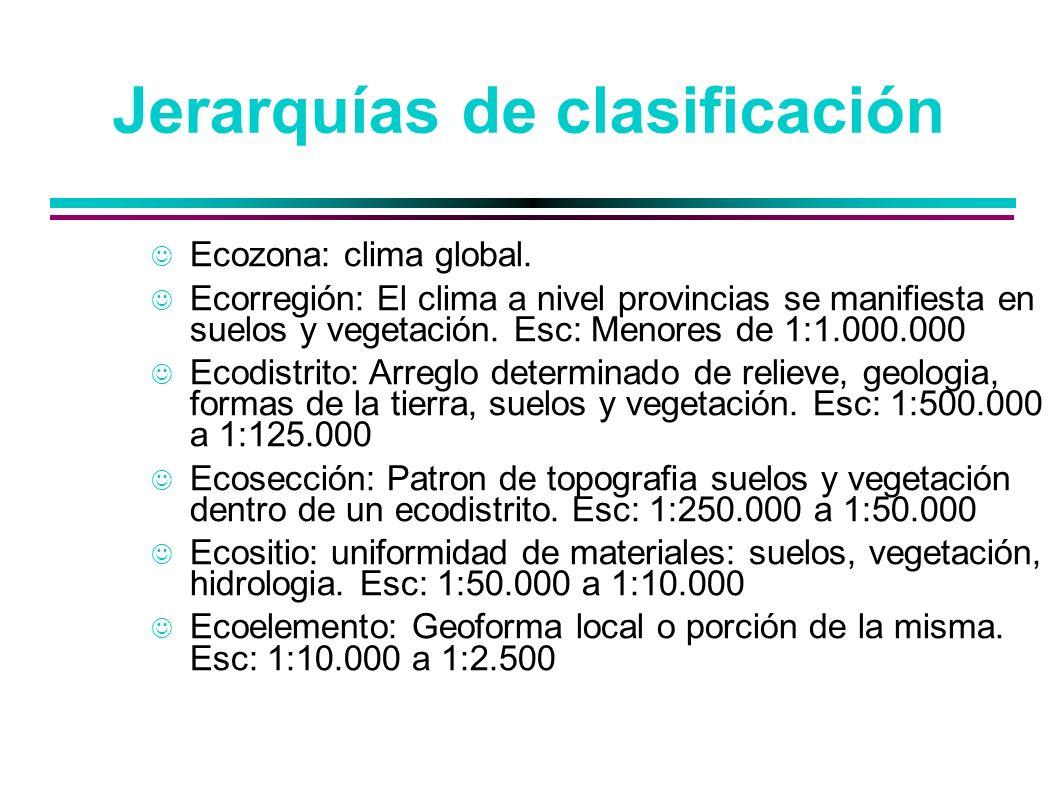 Jerarquías de clasificación Ecozona: clima global. Ecorregión: El clima a nivel provincias se manifiesta en suelos y vegetación. Esc: Menores de 1:1.0