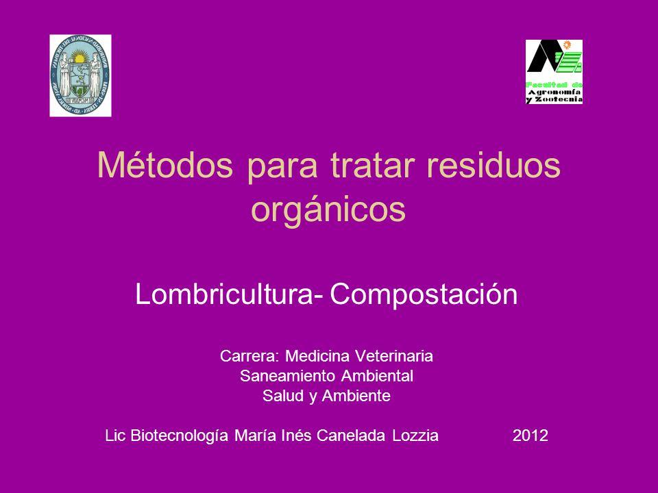 Métodos para tratar residuos orgánicos Lombricultura- Compostación Carrera: Medicina Veterinaria Saneamiento Ambiental Salud y Ambiente Lic Biotecnolo