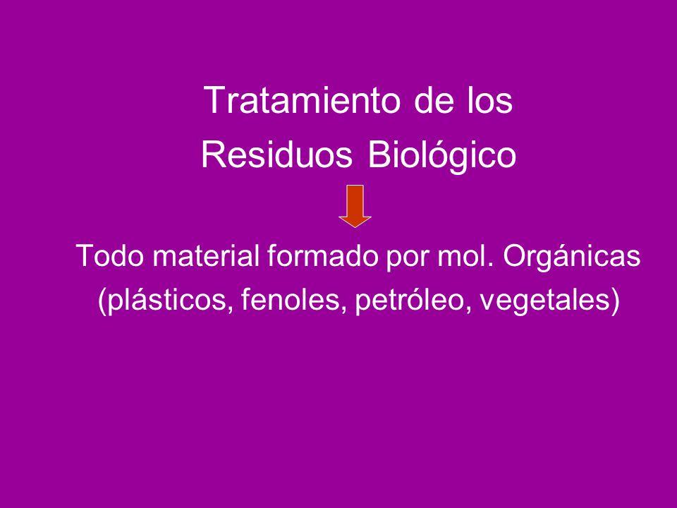 Tratamiento de los Residuos Biológico Todo material formado por mol. Orgánicas (plásticos, fenoles, petróleo, vegetales)