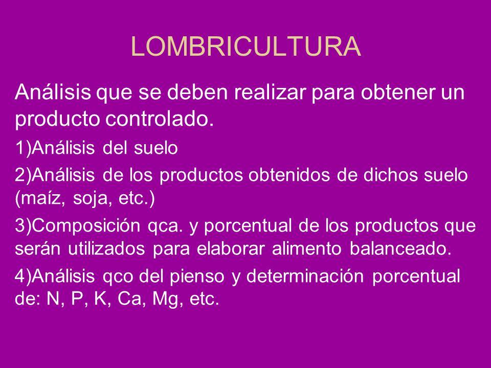 LOMBRICULTURA Análisis que se deben realizar para obtener un producto controlado. 1)Análisis del suelo 2)Análisis de los productos obtenidos de dichos
