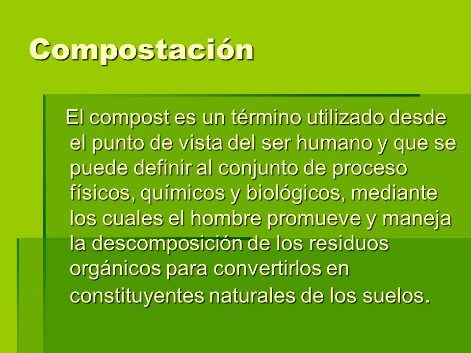 El compost es un término utilizado desde el punto de vista del ser humano y que se puede definir al conjunto de proceso físicos, químicos y biológicos
