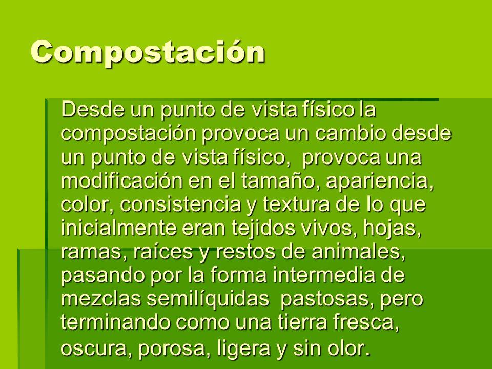 Desde un punto de vista físico la compostación provoca un cambio desde un punto de vista físico, provoca una modificación en el tamaño, apariencia, co