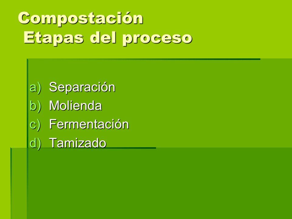 Compostación Etapas del proceso a)Separación b)Molienda c)Fermentación d)Tamizado