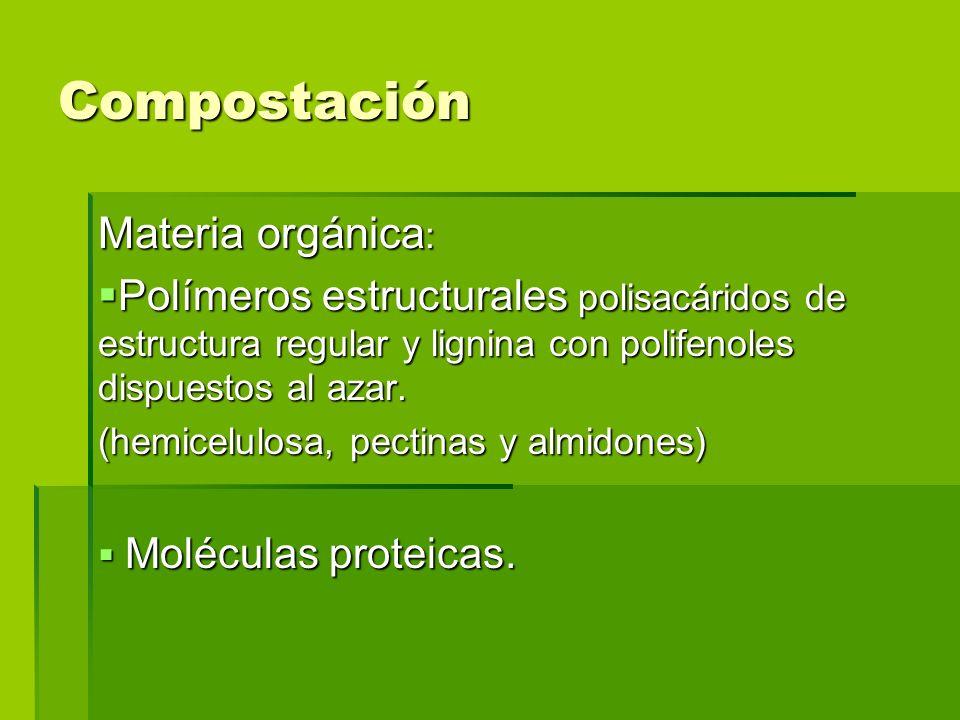 Compostación Materia orgánica : Polímeros estructurales polisacáridos de estructura regular y lignina con polifenoles dispuestos al azar. Polímeros es
