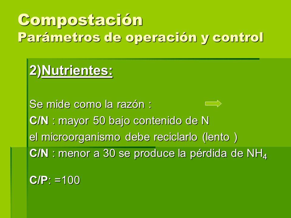 Compostación Parámetros de operación y control 2)Nutrientes: Se mide como la razón : C/N : mayor 50 bajo contenido de N el microorganismo debe recicla