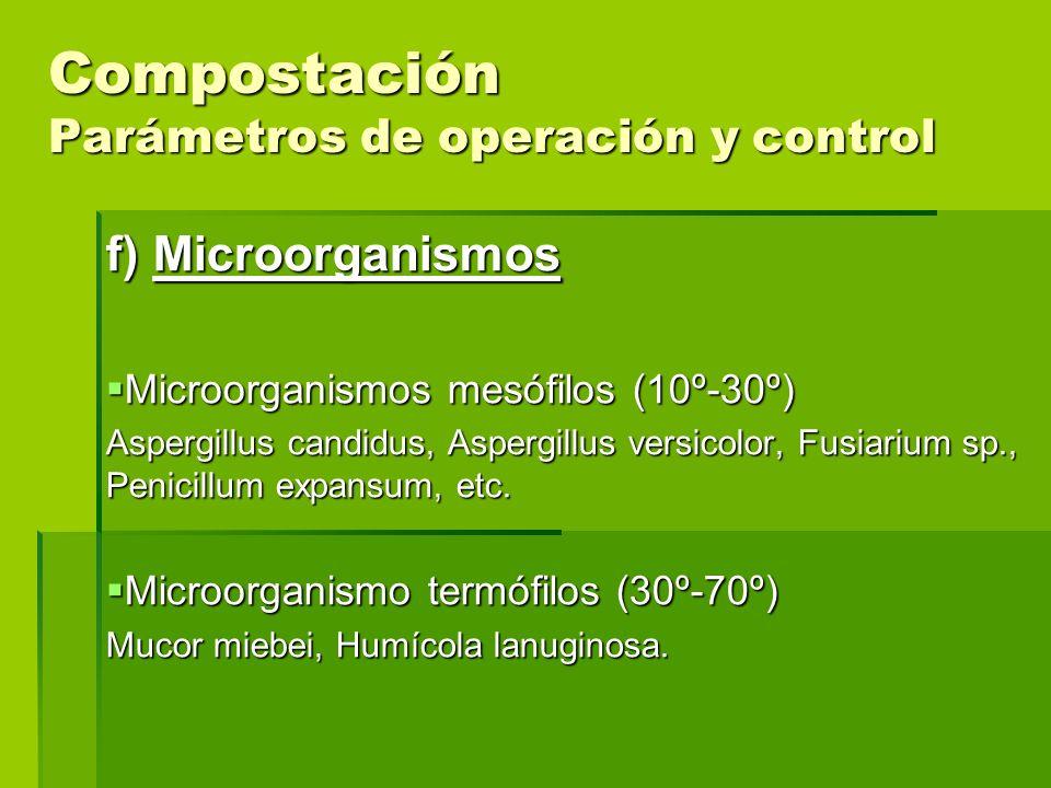 Compostación Parámetros de operación y control f) Microorganismos Microorganismos mesófilos (10º-30º) Microorganismos mesófilos (10º-30º) Aspergillus