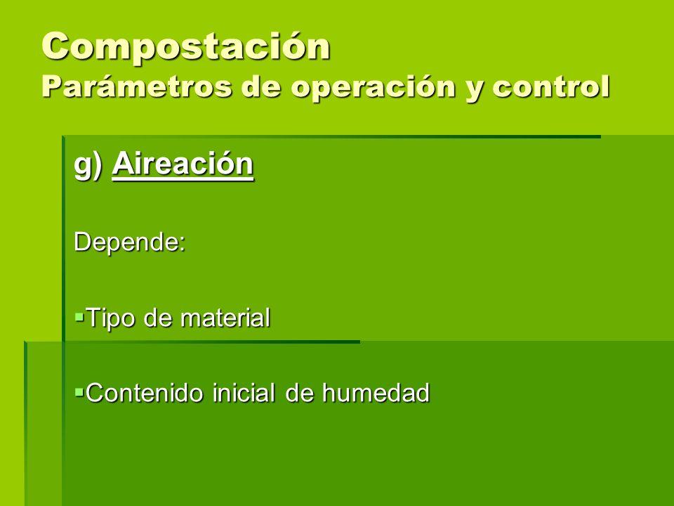 Compostación Parámetros de operación y control g) Aireación Depende: Tipo de material Tipo de material Contenido inicial de humedad Contenido inicial