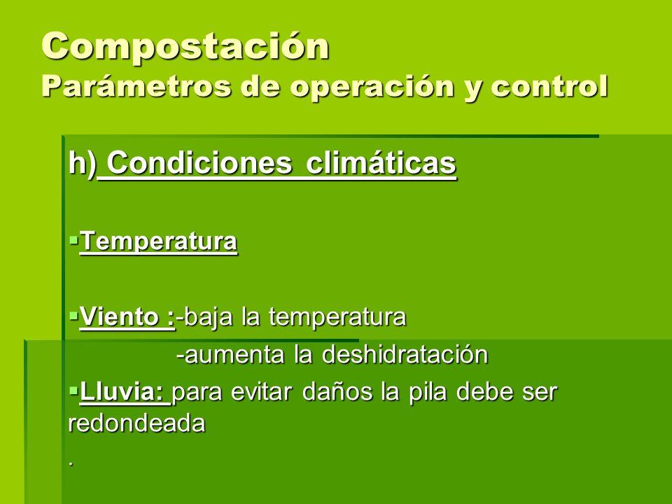 Compostación Parámetros de operación y control h) Condiciones climáticas Temperatura Temperatura Viento :-baja la temperatura Viento :-baja la tempera
