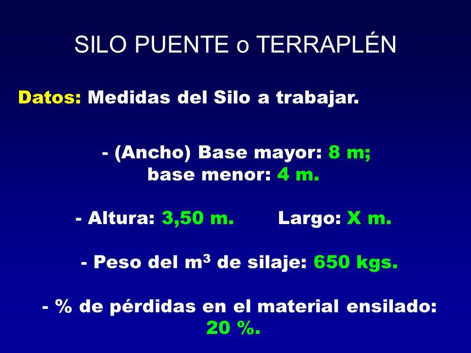 SILO PUENTE o TERRAPLÉN Datos: Medidas del Silo a trabajar. - (Ancho) Base mayor: 8 m; base menor: 4 m. - Altura: 3,50 m. Largo: X m. - Peso del m 3 d