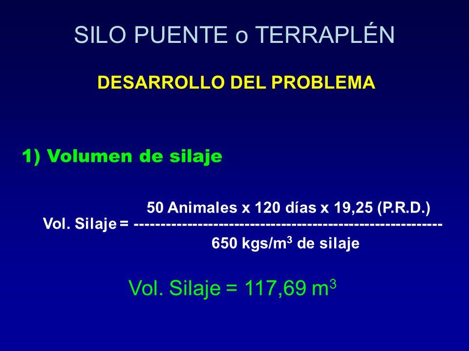 1) Volumen de silaje 50 Animales x 120 días x 19,25 (P.R.D.) Vol. Silaje = ----------------------------------------------------------- 650 kgs/m 3 de