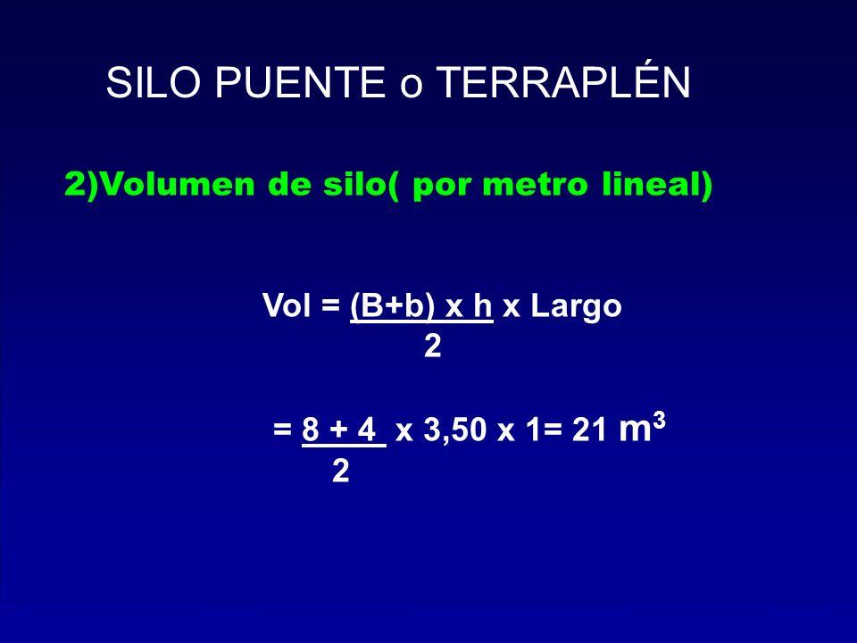 2)Volumen de silo( por metro lineal) Vol = (B+b) x h x Largo 2 = 8 + 4 x 3,50 x 1= 21 m 3 2 SILO PUENTE o TERRAPLÉN