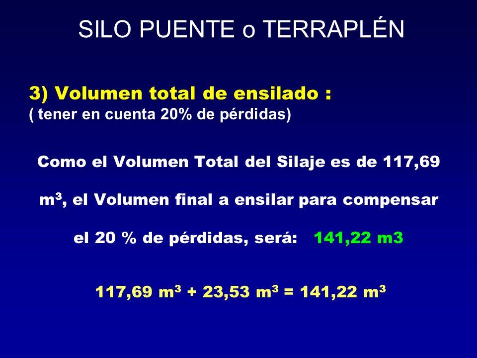 3) Volumen total de ensilado : ( tener en cuenta 20% de pérdidas) Como el Volumen Total del Silaje es de 117,69 m 3, el Volumen final a ensilar para c