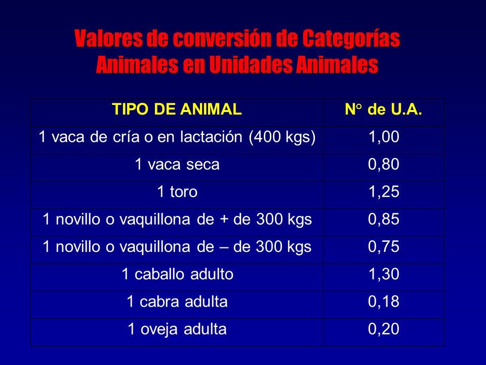 TIPO DE ANIMALN° de U.A. 1 vaca de cría o en lactación (400 kgs)1,00 1 vaca seca0,80 1 toro1,25 1 novillo o vaquillona de + de 300 kgs0,85 1 novillo o