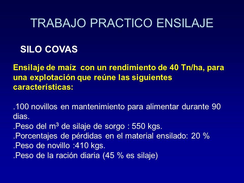 TRABAJO PRACTICO ENSILAJE SILO COVAS Ensilaje de maíz con un rendimiento de 40 Tn/ha, para una explotación que reúne las siguientes características:.1