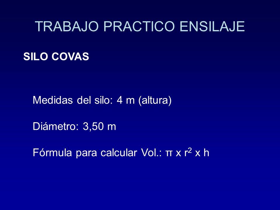 TRABAJO PRACTICO ENSILAJE SILO COVAS Medidas del silo: 4 m (altura) Diámetro: 3,50 m Fórmula para calcular Vol.: π x r 2 x h
