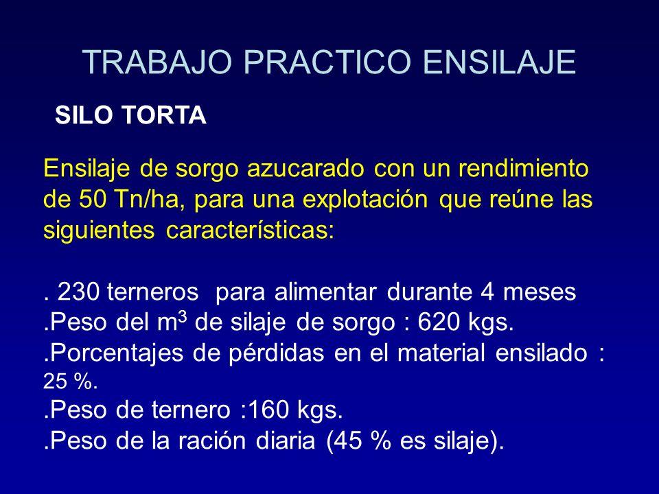 TRABAJO PRACTICO ENSILAJE SILO TORTA Ensilaje de sorgo azucarado con un rendimiento de 50 Tn/ha, para una explotación que reúne las siguientes caracte