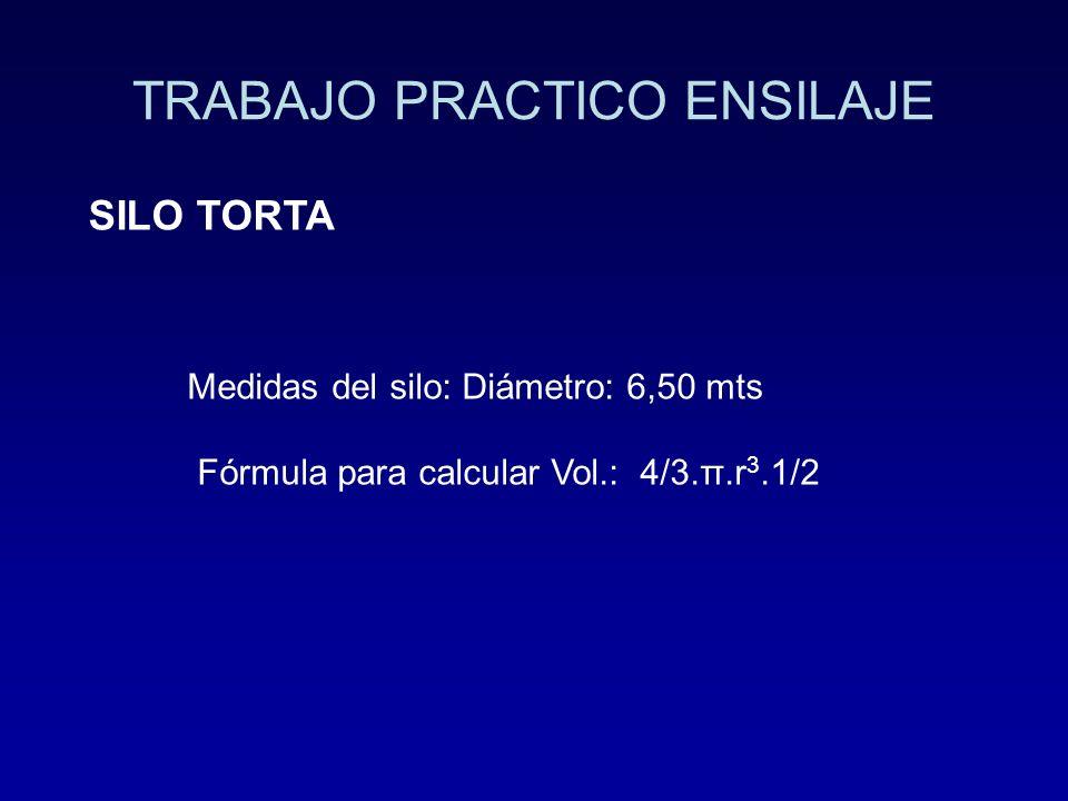 TRABAJO PRACTICO ENSILAJE SILO TORTA Medidas del silo: Diámetro: 6,50 mts Fórmula para calcular Vol.: 4/3.π.r 3.1/2