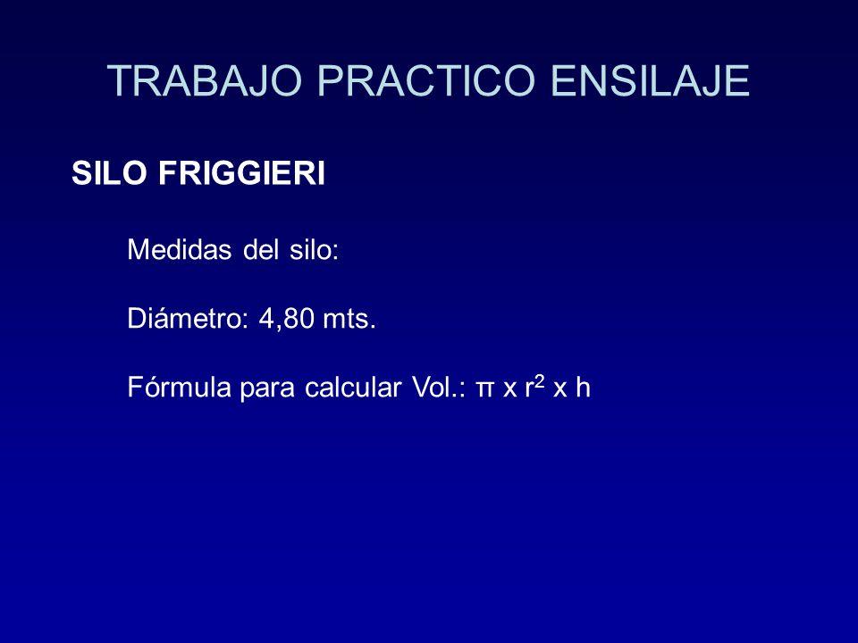 TRABAJO PRACTICO ENSILAJE SILO FRIGGIERI Medidas del silo: Diámetro: 4,80 mts. Fórmula para calcular Vol.: π x r 2 x h