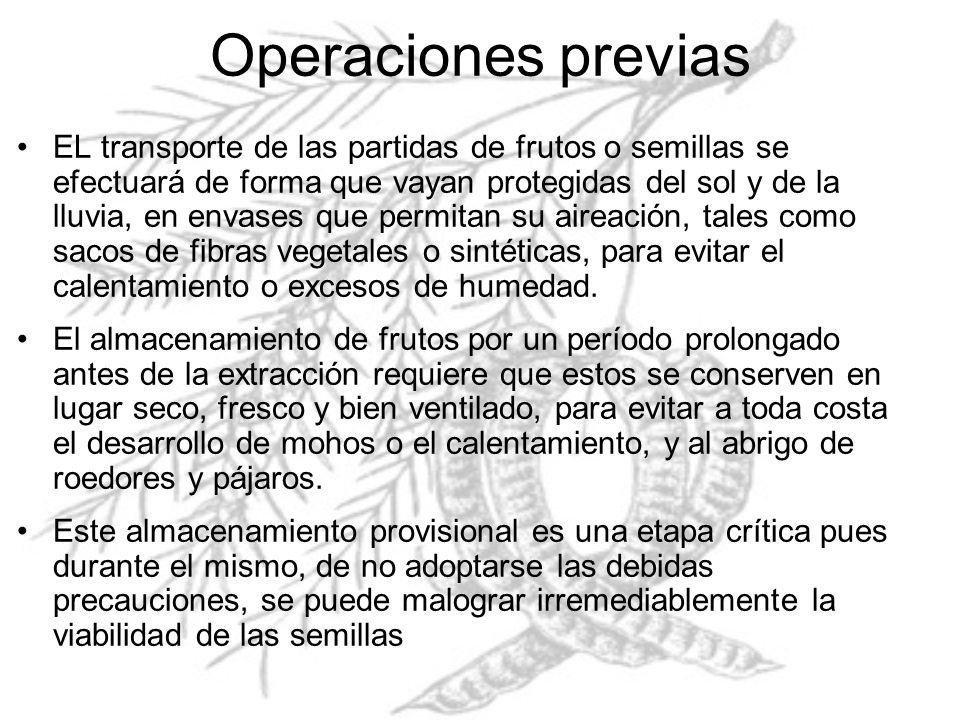 Operaciones previas EL transporte de las partidas de frutos o semillas se efectuará de forma que vayan protegidas del sol y de la lluvia, en envases q