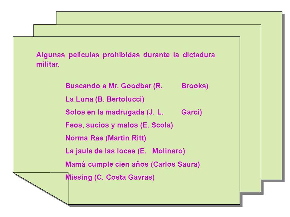 Algunas películas prohibidas durante la dictadura militar. Buscando a Mr. Goodbar (R. Brooks) La Luna (B. Bertolucci) Solos en la madrugada (J. L. Gar