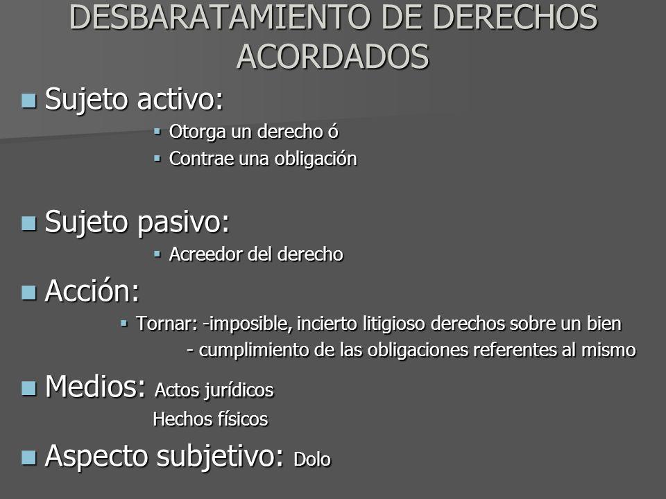 DESBARATAMIENTO DE DERECHOS ACORDADOS Sujeto activo: Sujeto activo: Otorga un derecho ó Otorga un derecho ó Contrae una obligación Contrae una obligac