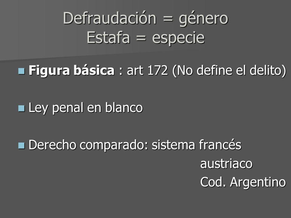 Defraudación = género Estafa = especie Figura básica : art 172 (No define el delito) Figura básica : art 172 (No define el delito) Ley penal en blanco