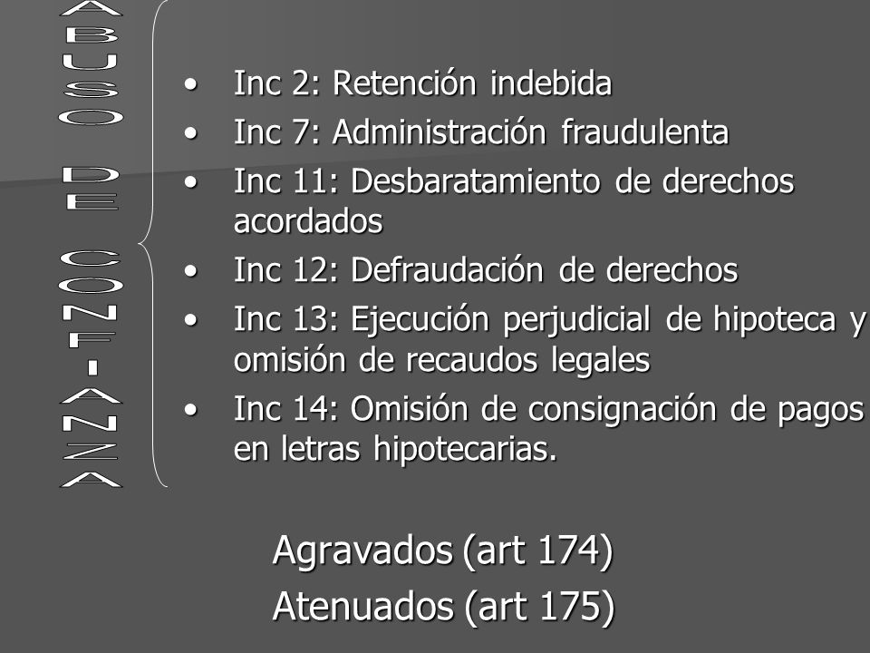 Inc 2: Retención indebidaInc 2: Retención indebida Inc 7: Administración fraudulentaInc 7: Administración fraudulenta Inc 11: Desbaratamiento de derec