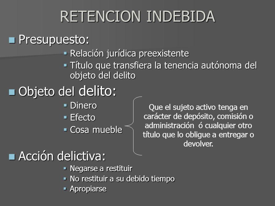 RETENCION INDEBIDA Presupuesto: Presupuesto: Relación jurídica preexistente Relación jurídica preexistente Título que transfiera la tenencia autónoma
