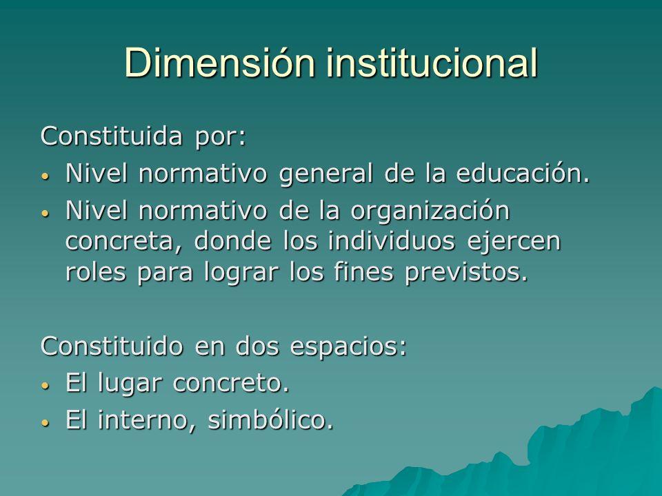 Dimensión institucional Constituida por: Nivel normativo general de la educación.