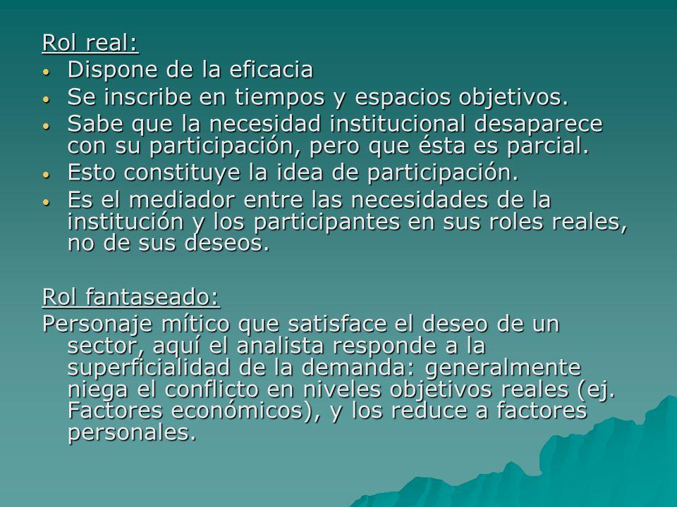 Rol real: Dispone de la eficacia Dispone de la eficacia Se inscribe en tiempos y espacios objetivos.